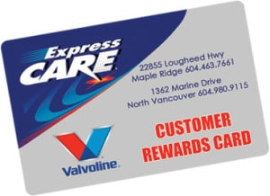 Express Care Discount Oil Change Card