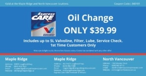 Express Oil Change North-Vancouver $39.99 off coupon